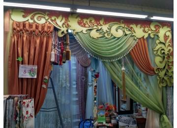 Ажурный ламбрекен витрина зелено-терракотовая