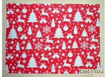Новогодняя текстильная салфетка Олени красные