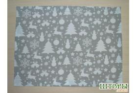 Новогодняя текстильная салфетка Олени серые