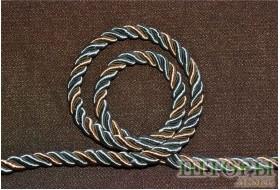 Декоративный витой двухцветный шнур светло-оливковый + золото 27-А