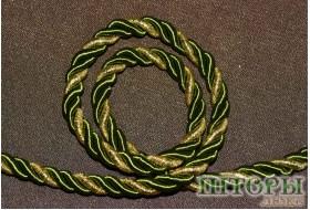 Декоративный витой шнур  для штор двухцветный бутолочный+люрикс золото 56-Т
