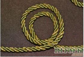 Декоративный витой шнур  для штор двухцветный яблочный+люрикс золото 57-Т