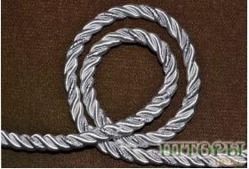 Декоративный витой шнур  для штор двухцветный белый+люрикс серебро 60-Т