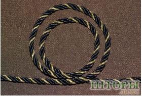 Декоративный витой шнур  для штор двухцветный черный+люрикс золото 44-А