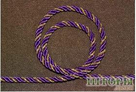 Декоративный витой шнур  для штор двухцветный сиреневый+люрикс золото 48-Т