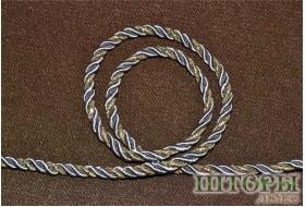Декоративный витой шнур  для штор двухцветный металлик+люрикс золото 46-А
