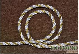 Декоративный витой шнур  для штор двухцветный белый+люрикс золото 29-А
