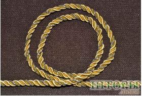 Декоративный витой шнур  для штор двухцветный насыщенный песочный+люрикс золото 32-А