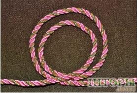 Декоративный витой шнур  для штор двухцветный розовый+люрикс золото 35-А