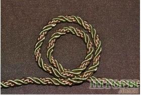 Декоративный витой шнур  для штор и мебели двухцветный яблочный+золото 165-В